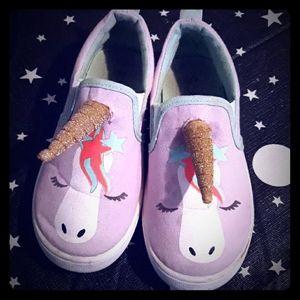 Girls 11 FabKids Unicorn Slip On Shoes